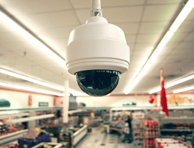 camera mounted in a grocery store