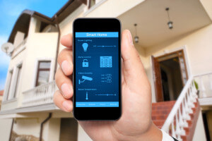 male hand hold a phone with system smart house on the background - smart security